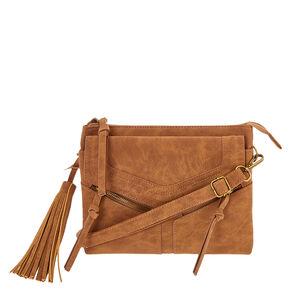 Cognac Brown Faux Leather Crossbody Envelope Bag,
