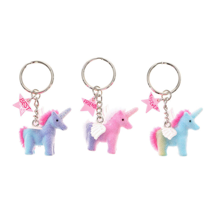 Lot de 3 porte cl s d 39 amiti licorne pelucheuse best for Porte and co