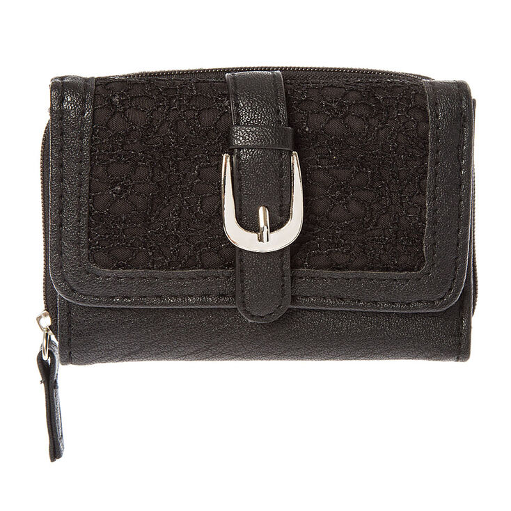 Black Faux Leather with Crochet Wallet at Icing in Victor, NY | Tuggl