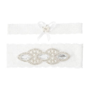 Embellished White Lace Bridal Garters with Pearls, Seed Beads and Crystals Set of 2,