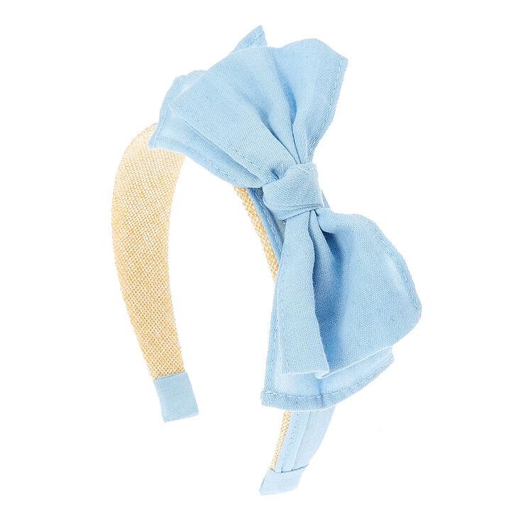 Light Blue Denim Bow and Straw Headband,