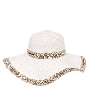 White and Gold Tinsel Wide Brimmed Straw Hat,