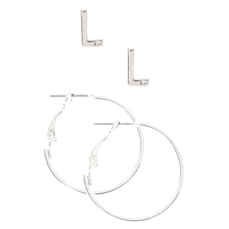 Silver Initial L Stud and Mini Hoop Earrings,