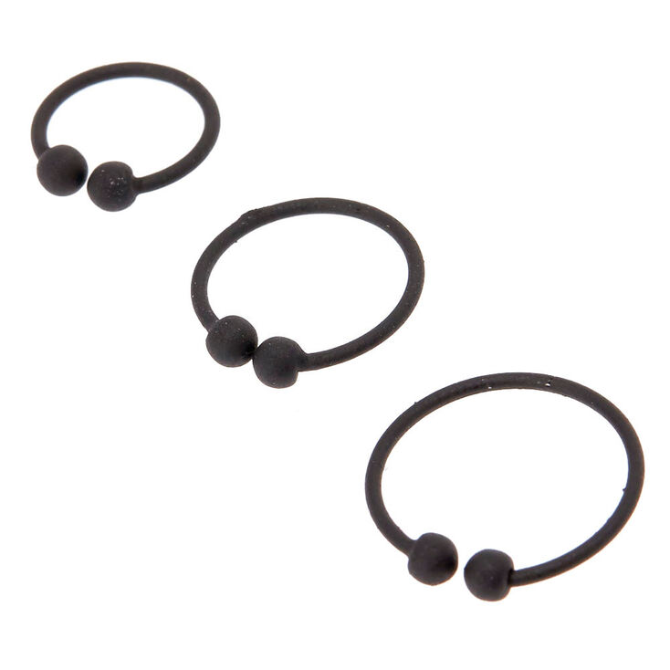 Matte Black Faux Nose Rings,