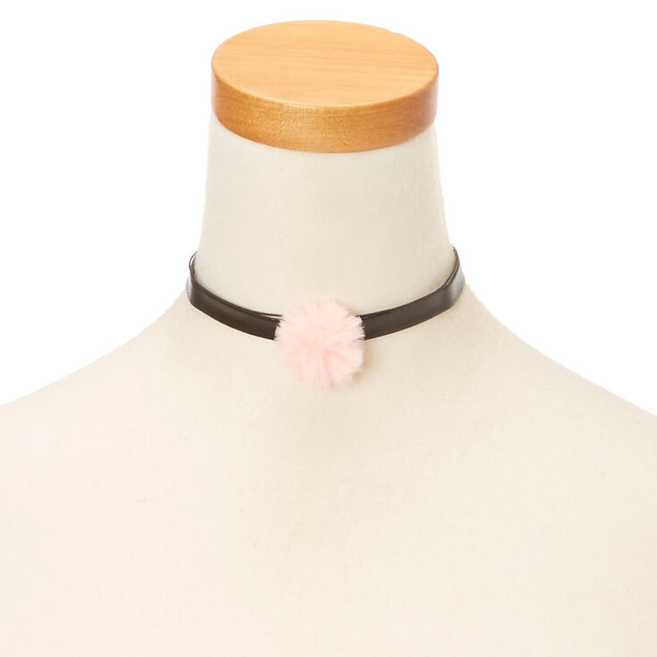 Black Leather Pink Pom Choker at Icing in Victor, NY | Tuggl
