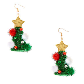 Tinsel Christmas Tree Drop Earrings,