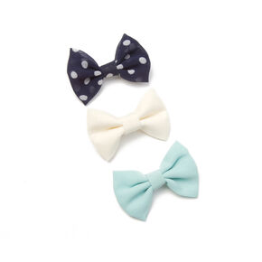 Navy Polka Dot, Mint and Ivory Bow Hair Clips,