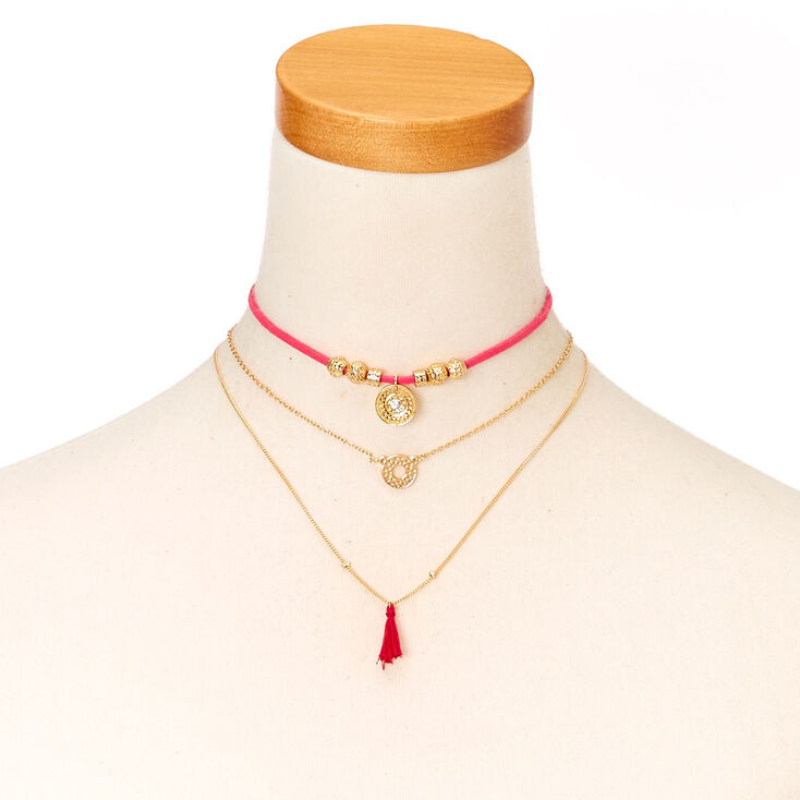 Pink Cord and Gold-tone Chain Choker Necklace at Icing in Victor, NY | Tuggl
