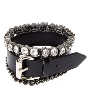 3 Pack Black Edgy Bracelet Set,