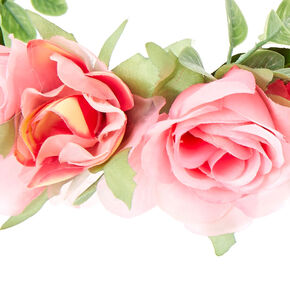 Pink Rose and  Leaves Flower Hair Garland,