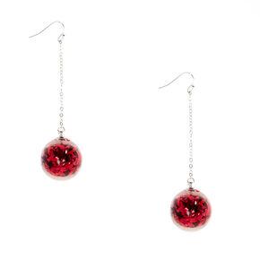 Red Tinsel Balls Drop Earrings,