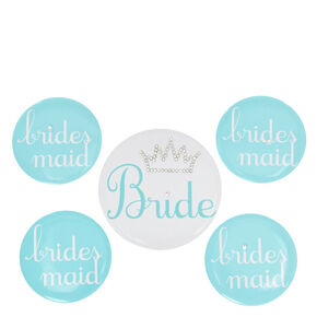 Bride & Bridesmaid Blue Button Set,