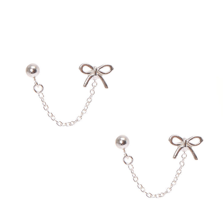 925 Sterling Silver Connect Bow Drop Earrings,