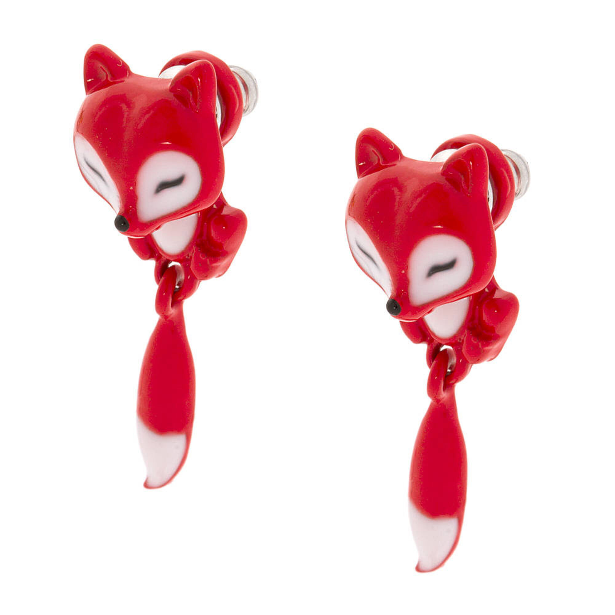 Small Red Fox Front And Back Earrings,