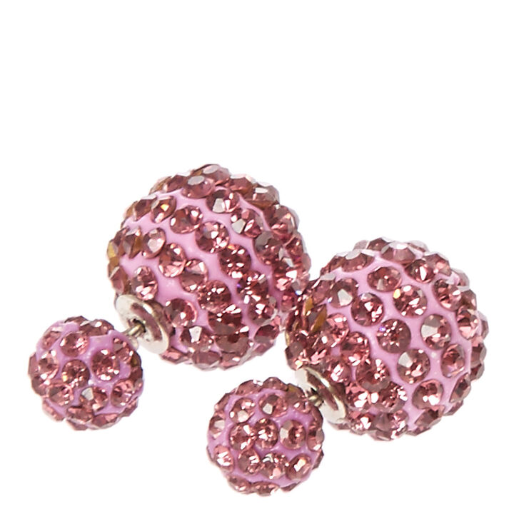 Purple Fireball Front and Back Stud Earrings,