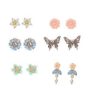 Gold-tone Framed Flower and Silver-tone Butterfly Stud Earrings,