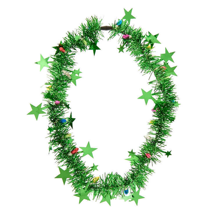 Green Christmas Tinsel Necklace,
