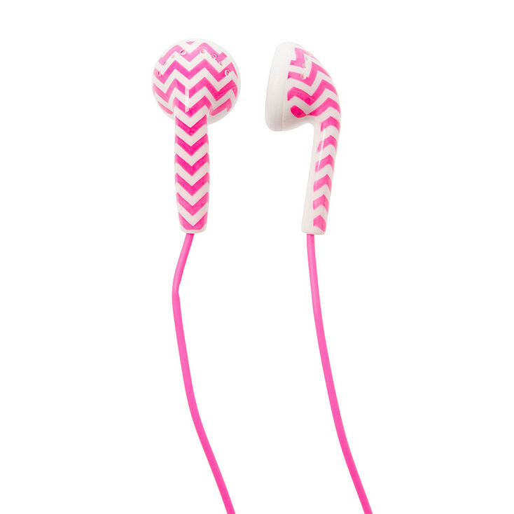 Pink and White Chevron Earbuds at Icing in Victor, NY | Tuggl