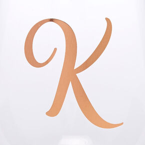 "Rose Gold-Tone ""K"" Initial Stemless Wine Glass,"