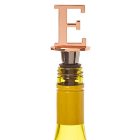 "Metallic Monogram Letter ""E"" Wine Stopper,"