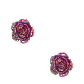 Metallic Purple Carved Rose Stud Earrings,