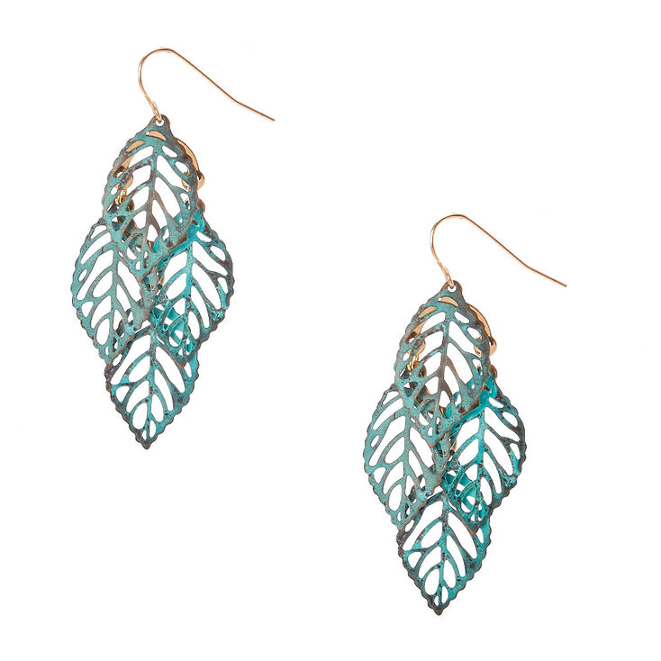 Patina Leaf Drop Earrings,