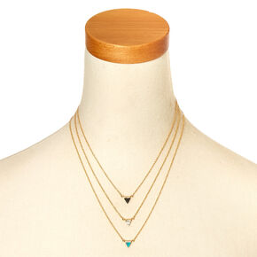 3-Pack Gold-Tone Marble Triangle Necklaces,