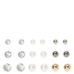 Large Graduated Crystal and Ball Stud Earrings,