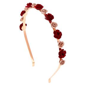 Rose Gold Metallic Velvet Roses Headband,