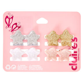 Kids 8 Pack Glitter Star Claw Hair Clips,