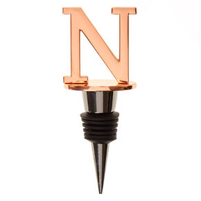 "Metallic Monogram Letter ""N"" Wine Stopper,"