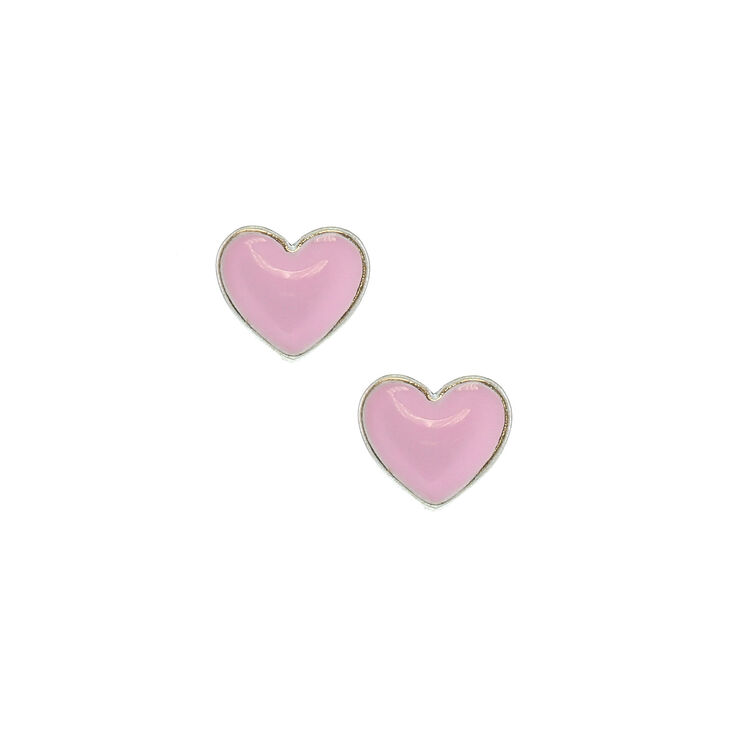 Pink Love Heart Stud Earrings Claire S