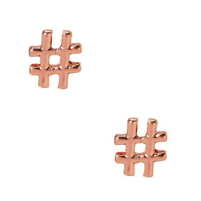 18K Gold Plated Rose Hashtag Earrings,