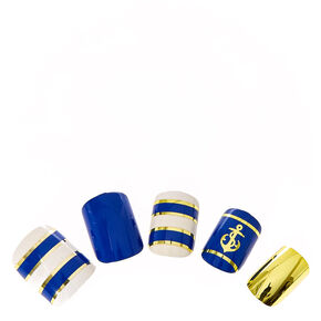 Gold and Navy Nautical Instant Nails,