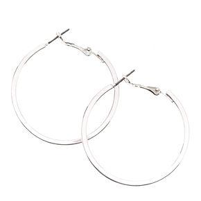 40MM Silver-tone Square Edge Hoop Earrings,