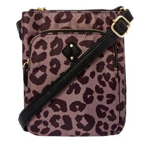 Black and Brown Leopard Print Crossbody Bag,