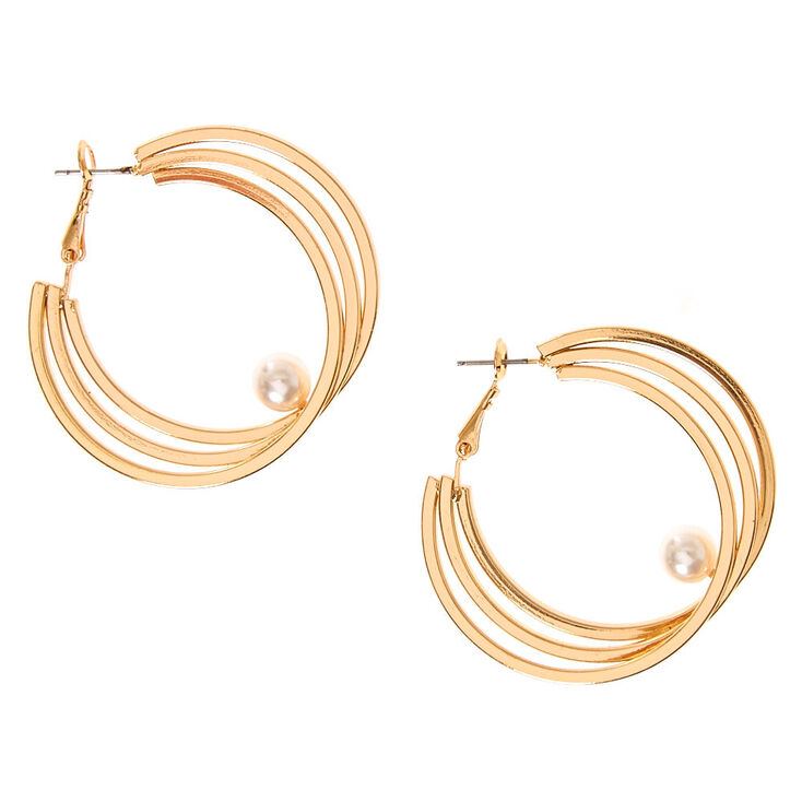50MM Gold-tone Triple Hoop Earrings with White Faux Pearl Accent,