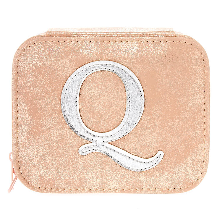 "Blush Pink ""Q"" Initial Jewelry Case,"
