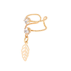 Gold-tone Double Band Ear Cuff with Leaf Charm,