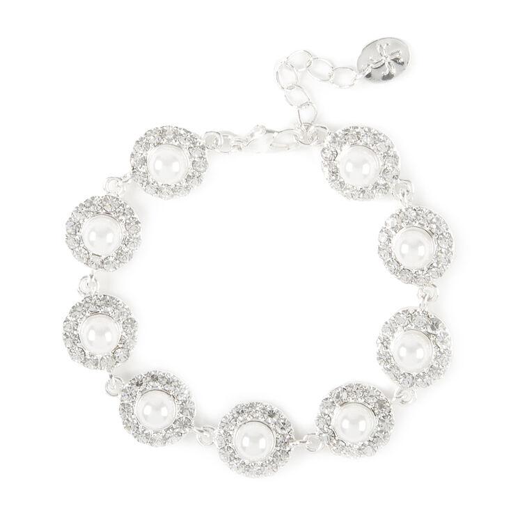 Pearl and Rhinestone Pavé Circles Bracelet,
