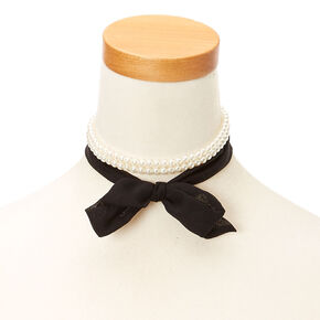 White Faux Pearl and Black Chiffon Choker Headwrap,