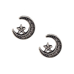 Crescent Moon and Star Stud Earrings,