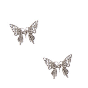 Burnished Silver-tone Butterfly Stud Earrings,