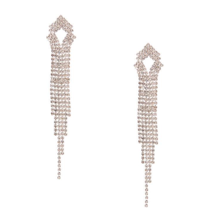 Triangular Faux Crystal Linear Drop Earrings,
