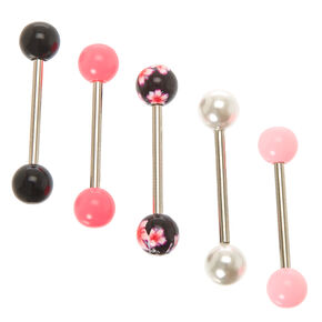Floral Pearl Barbell Tongue Rings,