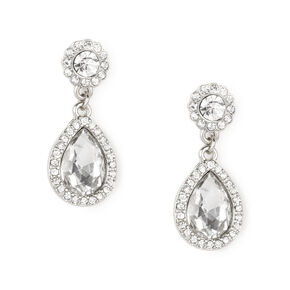 Silver and Rhinestone Framed Crystal Teardrop Drop Earrings,