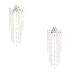 Marble + Fringe Ear Jacket Earrings,
