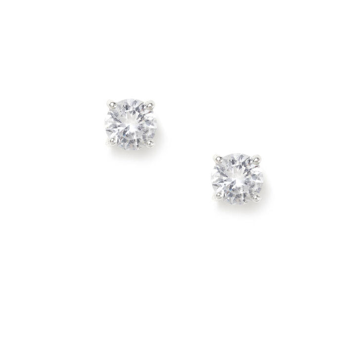 Sterling Silver 5MM CZ Round Stud Earrings,