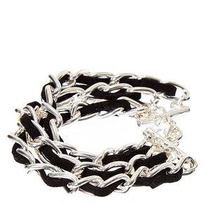 Black Suede Silver Link Bracelet,
