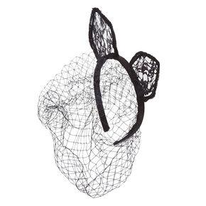 Lace Cat Ears Headband with Birdcage Veil,